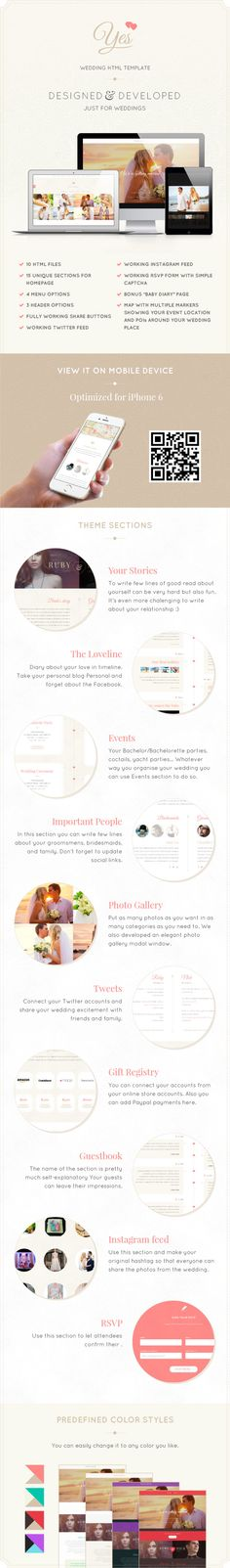Yes is unique One Page HTML template that features unique sections made just for weddings, such as Couple Timeline, Event Timeline, Gift section, Guestbook timeline, RSVP Form and much more.