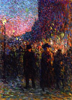 Tthe Boulevards, Night.  Maximilien Luce was a French Neo-impressionist artist. A printmaker, painter, and anarchist, Luce is best known for his pointillist canvases.