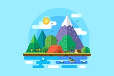 Morning landscape in the mountains. Solitude in nature by the river. Weekend in the tent. Hiking and camping. Vector flat illustration Write to us if you have Flat Design Illustration, Landscape Illustration, Illustration Art, Illustrations, Best Tents For Camping, Tent Camping, Vector Design, Vector Art, 2d Design