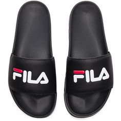 Fila Drifter Slides ($30) ❤ liked on Polyvore featuring men's fashion, men's shoes, shoes, fila mens shoes, mens slipon shoes and mens slip on shoes