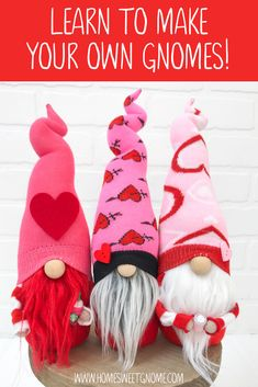 Want to learn how to make your own Valentine's Day gnomes! Grab our DIY gnome making pattern and photo tutorial to make adorable gnomes, just like the photo above! Valentines Day Decorations, Valentine Day Crafts, Holiday Crafts, Holiday Decor, Baby Crafts, Cute Crafts, Felt Snowman, Christmas Gnome, Christmas Holidays