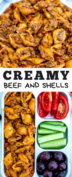 Creamy Beef and Shells. - The ingredients and how to make it please visit the website Light Pasta Recipes, Cheesy Pasta Recipes, Easy Healthy Pasta Recipes, Best Pasta Recipes, Pasta Dinner Recipes, Pasta Dinners, Pasta Salad Recipes, Lunch Recipes, Beef Recipes