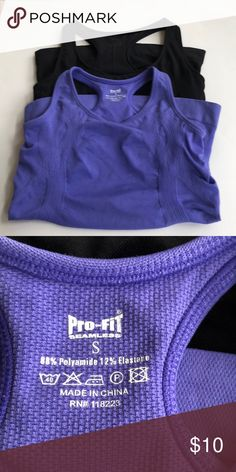 Pro-Fit Athletic Tank Tops Black & Purple Condition:  Gently Used  Size:  Small  Colors:  Black & Purple  Material: 88% Polyamide. 12%. Elastase Details:   Built in shelf bra Pro-Fit Tops Tank Tops