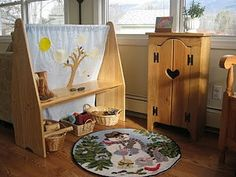 To inspire a little creative play I made this seasonal backdrop with our playstand. I cut the pieces out of felt and sewed them on for a . Waldorf Playroom, Waldorf Kindergarten, Kids Play Spaces, Cute Home Decor, Creative Play, Imaginative Play, Kids Furniture, Kids Playing, Backdrops