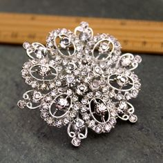 Large Rhinestone Brooch Pin Crystal Silver by SilverSpringroll, $6.40