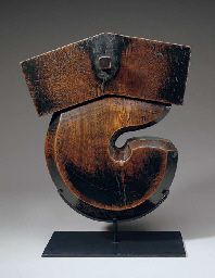 "Jizai-Gake (Daikoku Style). Cypress Wood. Early 20th Century.    19-1/2"" (49.2cm)."