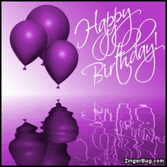 Happy Birthday Purple Balloons Ripples Glitter Graphic Greeting Comment Meme Or GIF