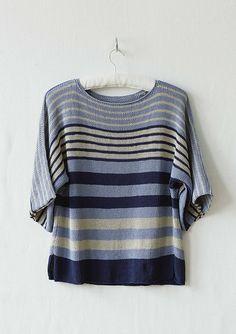 Rhapsody Striped Tee Knitting Pattern uses Erika Knight Studio Linen Yarn