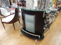 Rolling Bar With Glass Shelf And Chrome Bars Glass Front - Warner Bros. Property Department