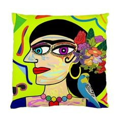 Frida Kahlo With Budgie & Flowers Double Sided Art Cushion Cover
