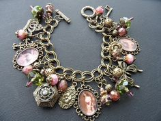 Reserved for lim, if you are not her please do not purchase! This bracelet features: 3 vintage gypsy images set in lovely lacy bronze Charm Jewelry, Jewelry Art, Antique Jewelry, Jewelry Bracelets, Jewelery, Jewelry Accessories, Vintage Jewelry, Handmade Jewelry, Jewelry Design