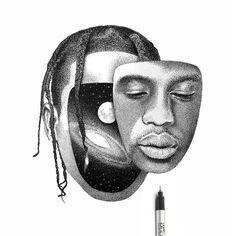 Travis Scott Tattoo, Travis Scott Art, Self Portrait Drawing, Portrait Art, Portraits, Dark Art Drawings, Art Drawings Sketches, Pencil Sketches Landscape, Distortion Art
