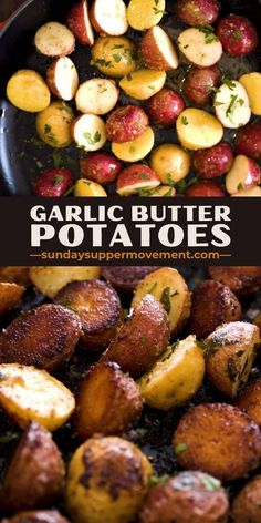Garlicky, buttery, and oh-so-crispy, our Garlic Roasted Small Potatoes make a delicious side dish for every meal from beef to chicken. #SundaySupper #roastedpotatoes #potatoes #potatorecipe #creamerpotatoes #smallpotatoes #babypotatoes #easyrecipes #sidedishes #sides #holidays #holidayrecipes #garlicbutter via @thesundaysupper
