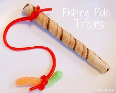 """""""fishing poles"""" ~ made using a Pirouette cookie, licorice, and a gummy worm... cute for any fishing, under the Sea type party or fun for Father's Day"""