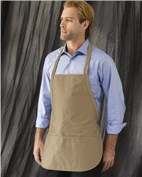 """Liberty Bags - Adjustable Neck Strap Three Pocket Apron - 5507  View Size Specification  Catalog Page: 512        9.0 oz., 65/35 cotton/polyester      Three pockets      Adjustable wide comfort neck strap with adjustable metal clasp      Rounded edge finished bottom      Size: 22"""" x 24"""""""