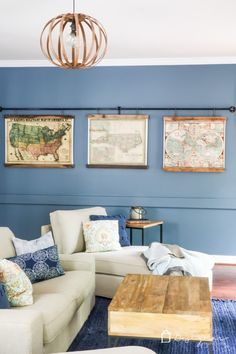 OMG, this DIY map art is amazing. Totally excited about how to make picture frames like this and I love how they are hanging from pipe! Source by kaleidoscopeliving Pallet Picture Frames, Pallet Frames, Hanging Picture Frames, Picture On Wood, Asian Home Decor, Diy Home Decor, Cadre Diy, Hanging Posters, Make Pictures