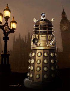 "Fine Art Print - Doctor Who Fans  -""Dalek in London fog"" - Giclee print, Dalek print, Geek gift, Doctor Who gift, Nerd gift, Exterminate., via Etsy."
