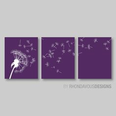 Dandelion in the Wind Print Trio - Purple and White Dandelion. Nursery. Home Decor. Wall Art. Room. Living - You Pick the Size (NS-315)