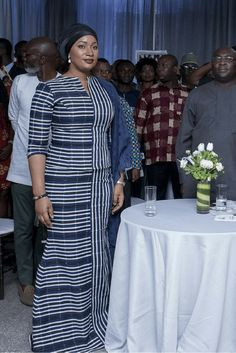 Samira Bawumia in batakari kaba and slit at a program with her husband, African fashion, Ankara, kitenge, African women dresses, African prints, African men's fashion, Nigerian style, Ghanaian fashion