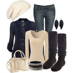"""""""Cardigan and Cream"""" by laaudra-rasco on Polyvore"""
