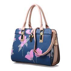 New arrival flower printing Women Handbag PU Leather Bag high quality  famous brand Shoulder Bags Tote lady hobos bolsa feminina ee9e11c21e3f6