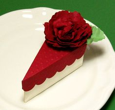 A Slice of Cake Party Favor Box -  Red with Cream with Handmade Paper Flowers - Wedding Favors, Bridal Showers