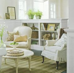 Love the idea of bookcase on one side and bench on the other when you walk in the door. Short wall doesn't block off space. Walk out basement?