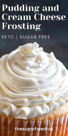 Low Sugar Recipes, No Sugar Foods, Sugar Free Desserts, Sweet Recipes, Frosting Recipes, Pudding Frosting, Sugar Free Frosting, Cake Recipes, Dessert Recipes