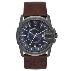 Diesel DZ1618 Men's Master Chief Only The Brave Navy Blue Dial Dark Brown Leather Strap Watch