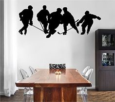 Hockey Players Silhouette with Optional Custom Monogram Name Vinyl Wall Words Decal Sticker Graphic. Made from high quality adhesive vinyl that will last indefinitely indoors and has an outdoor rating of up to 10 years. Some decals may be in multiple sections due to the size of the design. Our vinyl graphics are easy to apply to any smooth surface. Put them on walls, wood, glass, tile, windows, canvas, ceramics, the possibilities are endless! These work on many different wall surfaces...