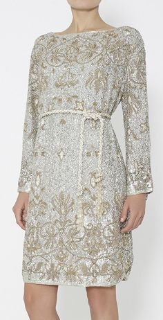 Marchesa Metallic Gold And Silver Dress