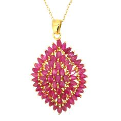 Burmese Ruby (Mrq) Cluster Pendant With Chain in 14K Gold Overlay Sterling Silver 5.750 Ct.
