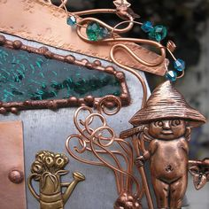 Gnome Fairy House - Stained Glass - Garden - Copper Steel Crystal  - Magic Fantasy - Suncatcher Wall Art