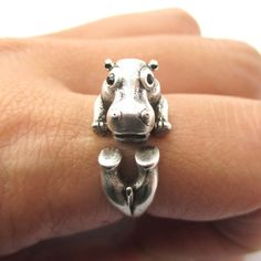 3D Realistic Hippo Hippopotamus Shaped Animal Wrap Ring in Silver