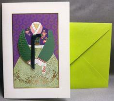 Korean Traditional Designed Card - Korean Traditional Cloth Hanbok 3 by lovingpaper on Etsy
