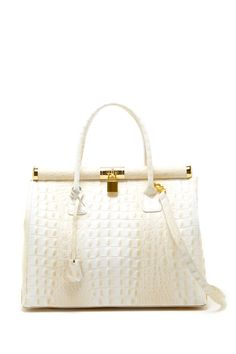 Merci Marie Sophia Croc Embossed Leather Structured Handbag