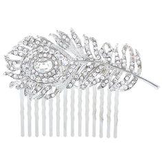 EVER FAITH® Bridal Silver-Tone Peacock Hair Comb Clear Austrian Crystal -- Tried it! Love it! Click the image. : Hair Accessories