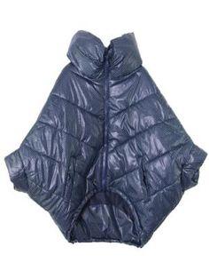 Dark Blue Polka Dot Padded Coat