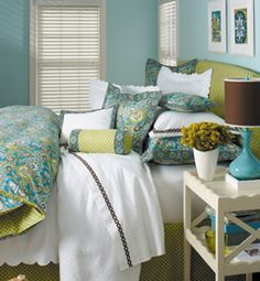 I am not a huge fan of blue (Matthew's fave color), but I could do it for a paisley/flower print duvet!