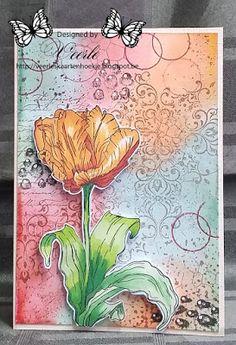 Veerle's kaarten hoekje : Addicted to Stamps Challenges #150 - Flowers