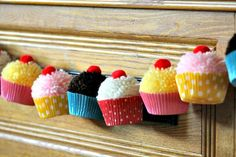 Cupcake yarn pompom garland by Cupcake Wishes & Birthday Dreams