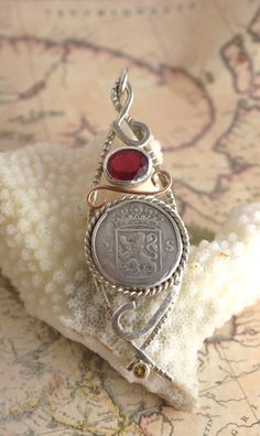 Antique Dutch Colonial Coin, Ruby, Citrine, Silver Pendant. $399.99, via Etsy.