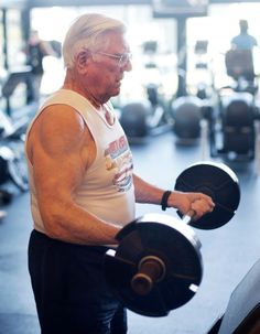 John Gilmour is still lifting - and competing - at 92 years old. A former Marine, he started competing at age 79. He recently bench pressed 209 pounds, an American and World Record in the 90-94 year old Masters category. Never stop