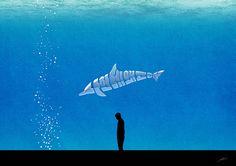 <나한테왜고래>, 타인 때문에 힘들어하는 사람을 생각하며 만든 작품. 아쿠아리움 속 고래가 기운 없이 서 있는 사람이 하고 싶은 말을 대신 표현하고 있다.