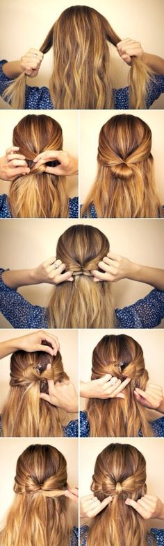 Fabulous Bow Half Up Do... Super Easy  not sure if it would work on curly hair. but cute