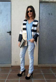 una chaqueta muy chula, de rollo boyfriends con rayas en delantero, estilismo de isabella en el blog de http://isabella.es