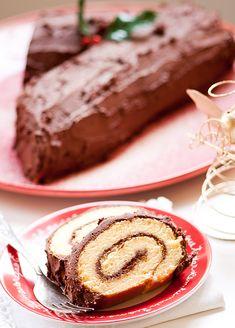 Para o Natal. Um tronco de chocolate e iogurte.