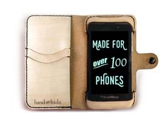 Blackberry Z10 Leather Wallet Case - No Plastic - Free Inscription