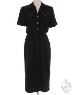 Vintage Short Sleeved Dress Black With A Revere Front | Beyond Retro
