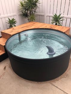 Our stock tank pool {part two} Small Backyard Pools, Small Pools, Backyard Patio, Backyard Projects, Hot Tub Backyard, Pool Decks, Stock Pools, Stock Tank Pool, Mini Pool